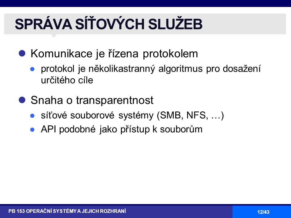 12/43 Komunikace je řízena protokolem ●protokol je několikastranný algoritmus pro dosažení určitého cíle Snaha o transparentnost ●síťové souborové sys