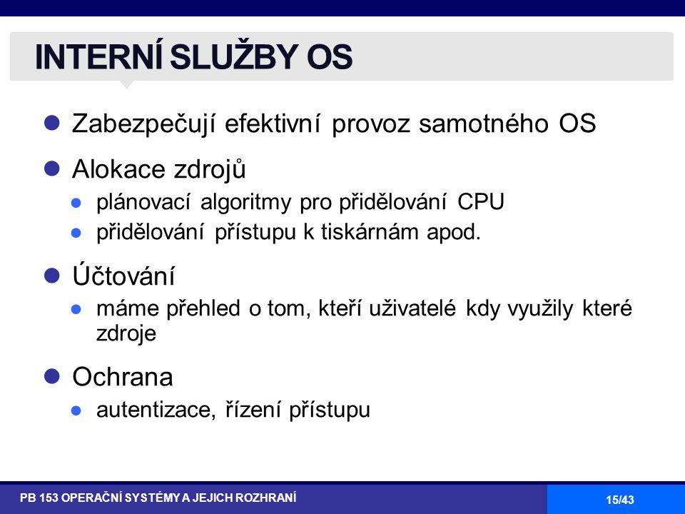 15/43 Zabezpečují efektivní provoz samotného OS Alokace zdrojů ●plánovací algoritmy pro přidělování CPU ●přidělování přístupu k tiskárnám apod. Účtová
