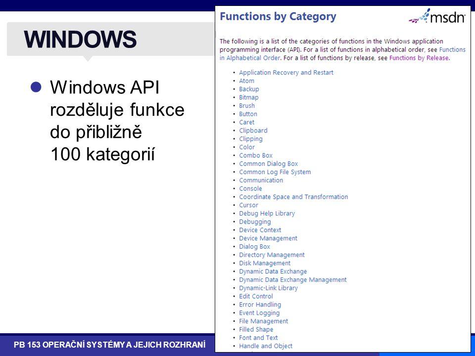 16/43 Windows API rozděluje funkce do přibližně 100 kategorií WINDOWS PB 153 OPERAČNÍ SYSTÉMY A JEJICH ROZHRANÍ