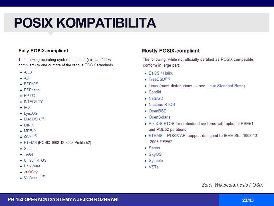 23/43 POSIX KOMPATIBILITA PB 153 OPERAČNÍ SYSTÉMY A JEJICH ROZHRANÍ Zdroj: Wikipedia, heslo POSIX