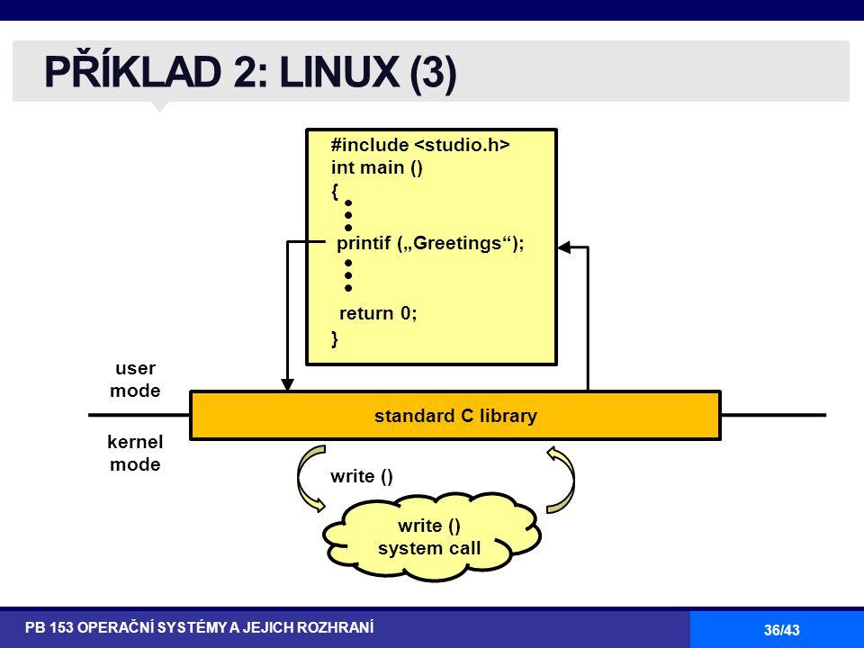 36/43 PŘÍKLAD 2: LINUX (3) PB 153 OPERAČNÍ SYSTÉMY A JEJICH ROZHRANÍ user mode kernel mode standard C library write () system call #include int main (