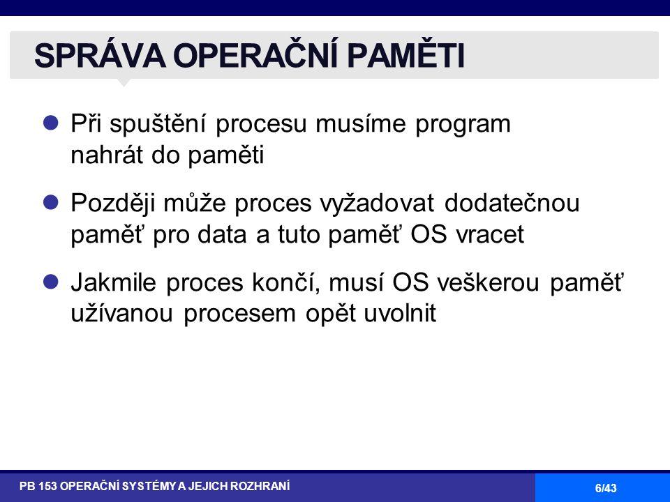 6/43 Při spuštění procesu musíme program nahrát do paměti Později může proces vyžadovat dodatečnou paměť pro data a tuto paměť OS vracet Jakmile proce