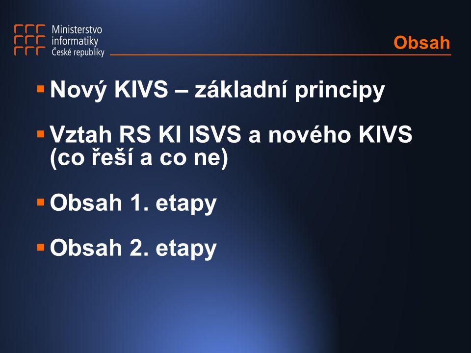 Obsah  Nový KIVS – základní principy  Vztah RS KI ISVS a nového KIVS (co řeší a co ne)  Obsah 1. etapy  Obsah 2. etapy