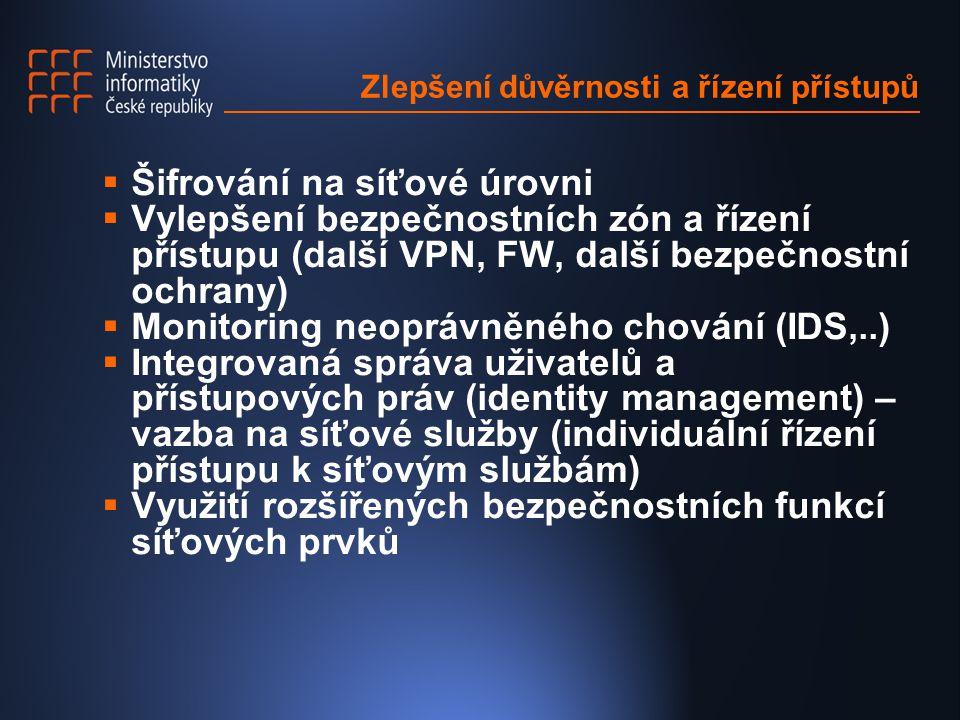Zlepšení důvěrnosti a řízení přístupů  Šifrování na síťové úrovni  Vylepšení bezpečnostních zón a řízení přístupu (další VPN, FW, další bezpečnostní