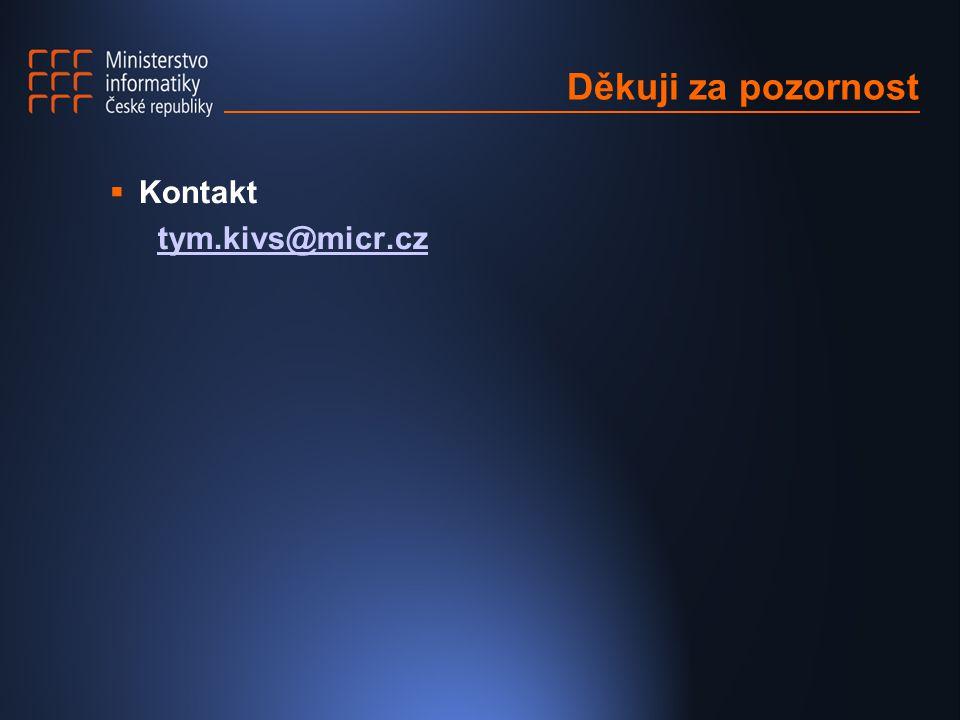 Děkuji za pozornost  Kontakt tym.kivs@micr.cz