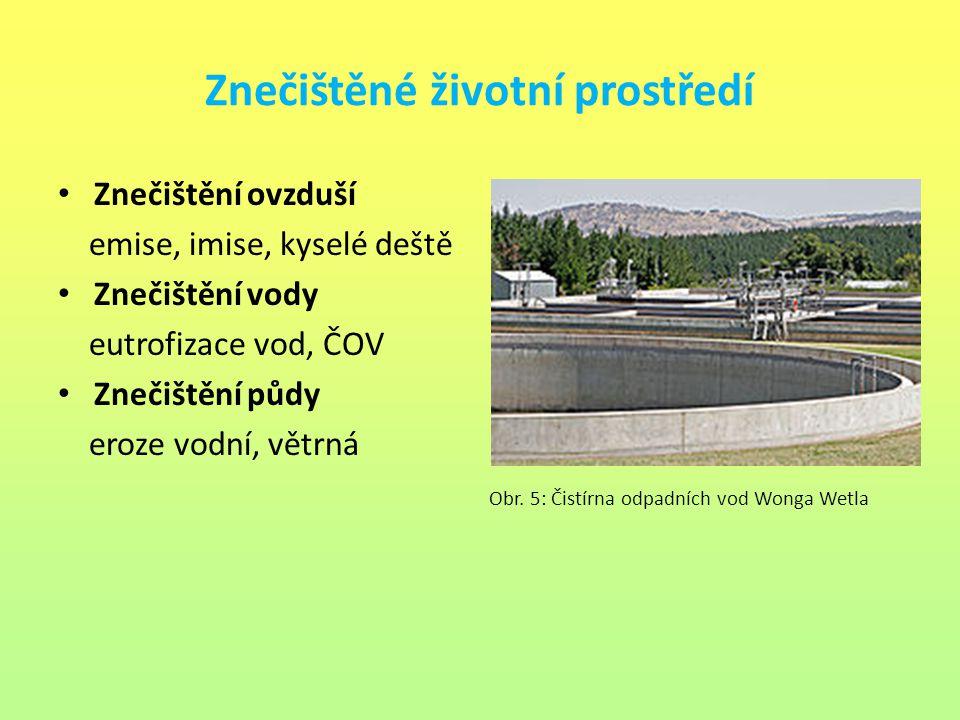 Znečištěné životní prostředí Znečištění ovzduší emise, imise, kyselé deště Znečištění vody eutrofizace vod, ČOV Znečištění půdy eroze vodní, větrná Ob