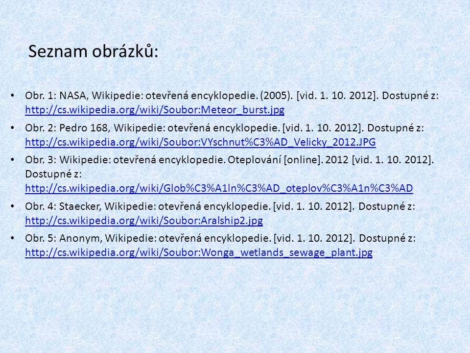 Seznam obrázků: Obr. 1: NASA, Wikipedie: otevřená encyklopedie. (2005). [vid. 1. 10. 2012]. Dostupné z: http://cs.wikipedia.org/wiki/Soubor:Meteor_bur
