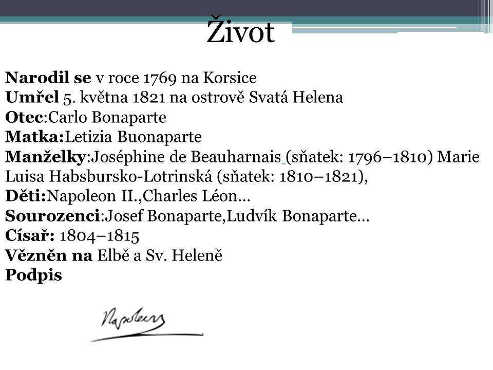 Narodil se v roce 1769 na Korsice Umřel 5. května 1821 na ostrově Svatá Helena Otec:Carlo Bonaparte Matka:Letizia Buonaparte Manželky:Joséphine de Bea