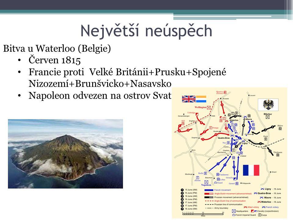 Největší neúspěch Bitva u Waterloo (Belgie) Červen 1815 Francie proti Velké Británii+Prusku+Spojené Nizozemí+Brunšvicko+Nasavsko Napoleon odvezen na o