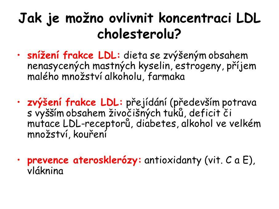 Jak je možno ovlivnit koncentraci LDL cholesterolu.