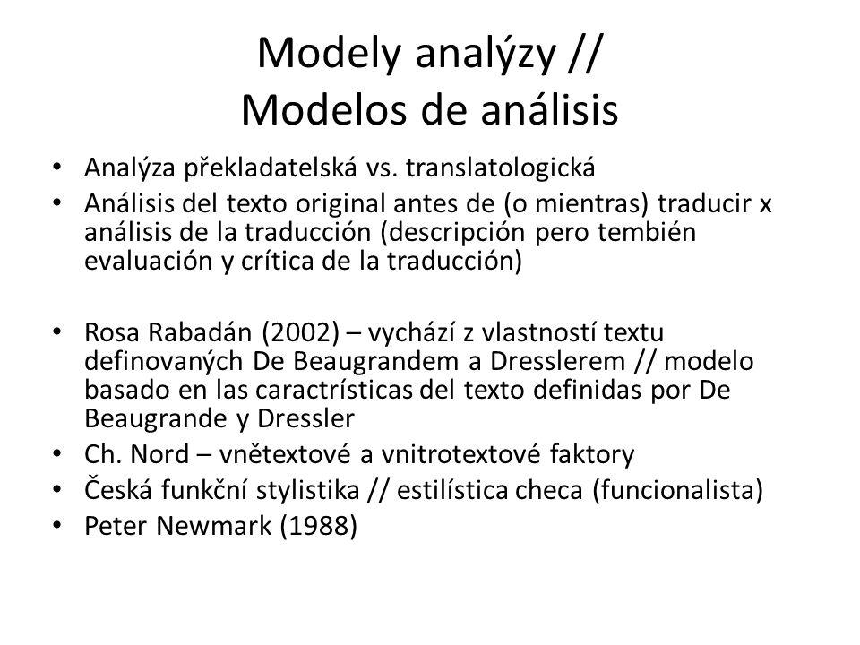 Modely analýzy // Modelos de análisis Analýza překladatelská vs. translatologická Análisis del texto original antes de (o mientras) traducir x análisi