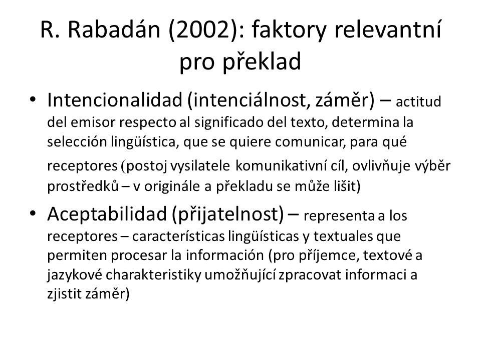 R. Rabadán (2002): faktory relevantní pro překlad Intencionalidad (intenciálnost, záměr) – actitud del emisor respecto al significado del texto, deter