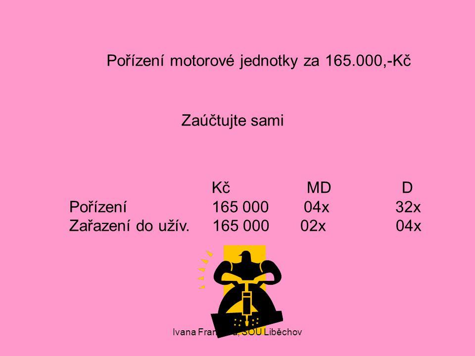 Pořízení motorové jednotky za 165.000,-Kč Zaúčtujte sami KčMDD Pořízení165 000 04x 32x Zařazení do užív.