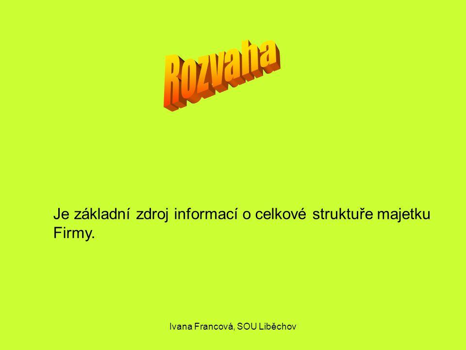 Je základní zdroj informací o celkové struktuře majetku Firmy. Ivana Francová, SOU Liběchov