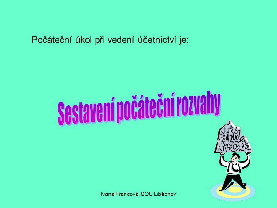 Počáteční úkol při vedení účetnictví je: Ivana Francová, SOU Liběchov