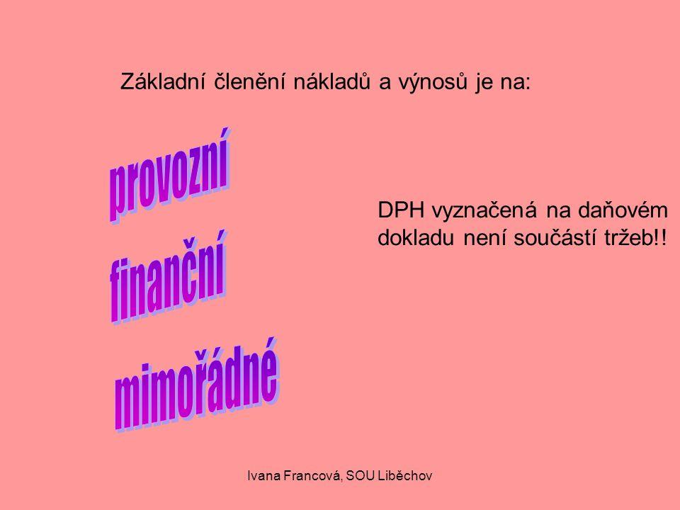 Základní členění nákladů a výnosů je na: DPH vyznačená na daňovém dokladu není součástí tržeb!.