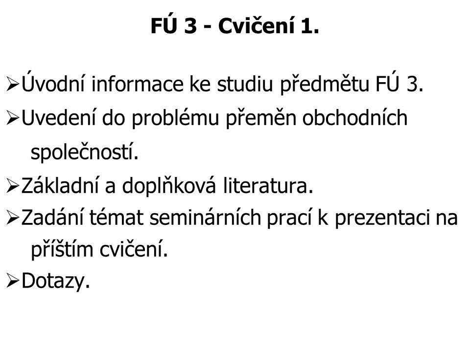 FÚ 3 - Cvičení 1.  Úvodní informace ke studiu předmětu FÚ 3.  Uvedení do problému přeměn obchodních společností.  Základní a doplňková literatura.
