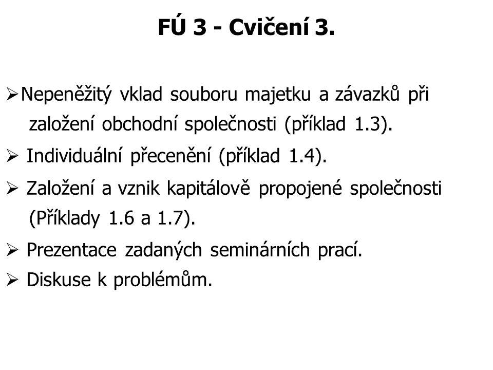 FÚ 3 - Cvičení 3.  Nepeněžitý vklad souboru majetku a závazků při založení obchodní společnosti (příklad 1.3).  Individuální přecenění (příklad 1.4)