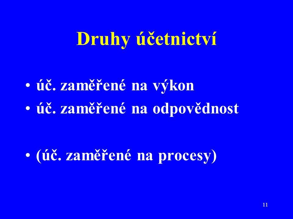 11 Druhy účetnictví úč. zaměřené na výkon úč. zaměřené na odpovědnost (úč. zaměřené na procesy)