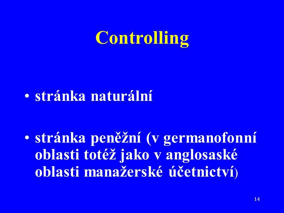 14 Controlling stránka naturální stránka peněžní (v germanofonní oblasti totéž jako v anglosaské oblasti manažerské účetnictví )