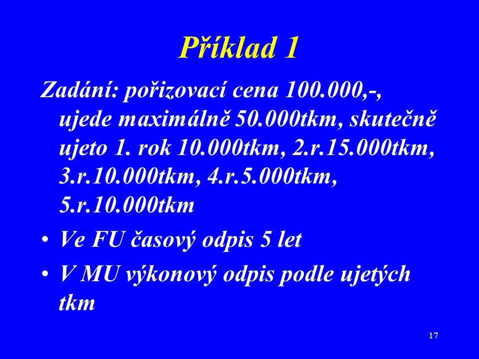 17 Příklad 1 Zadání: pořizovací cena 100.000,-, ujede maximálně 50.000tkm, skutečně ujeto 1. rok 10.000tkm, 2.r.15.000tkm, 3.r.10.000tkm, 4.r.5.000tkm