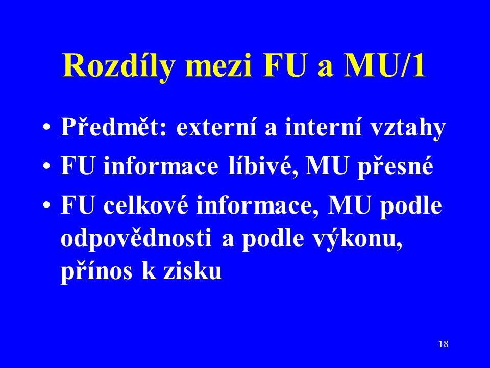 18 Rozdíly mezi FU a MU/1 Předmět: externí a interní vztahy FU informace líbivé, MU přesné FU celkové informace, MU podle odpovědnosti a podle výkonu,