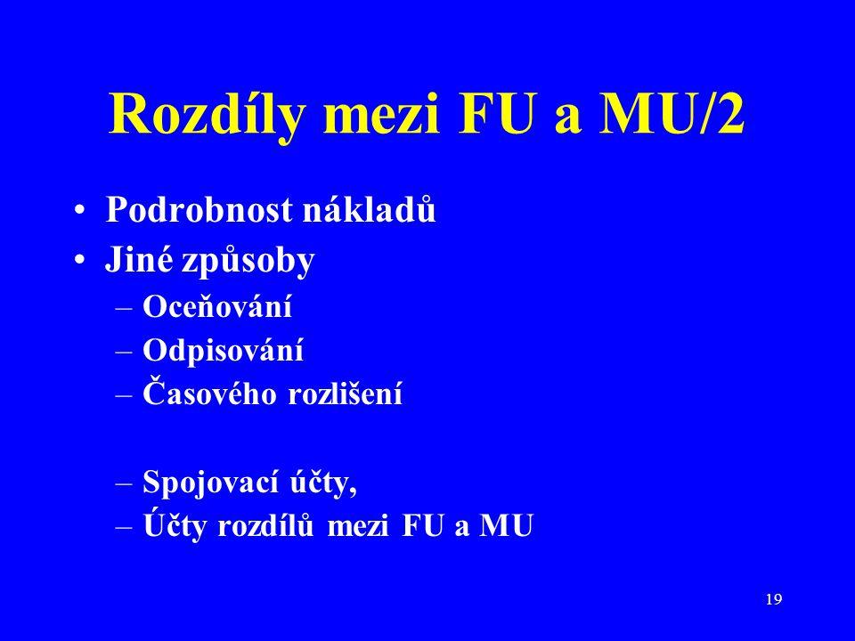 19 Rozdíly mezi FU a MU/2 Podrobnost nákladů Jiné způsoby –Oceňování –Odpisování –Časového rozlišení –Spojovací účty, –Účty rozdílů mezi FU a MU