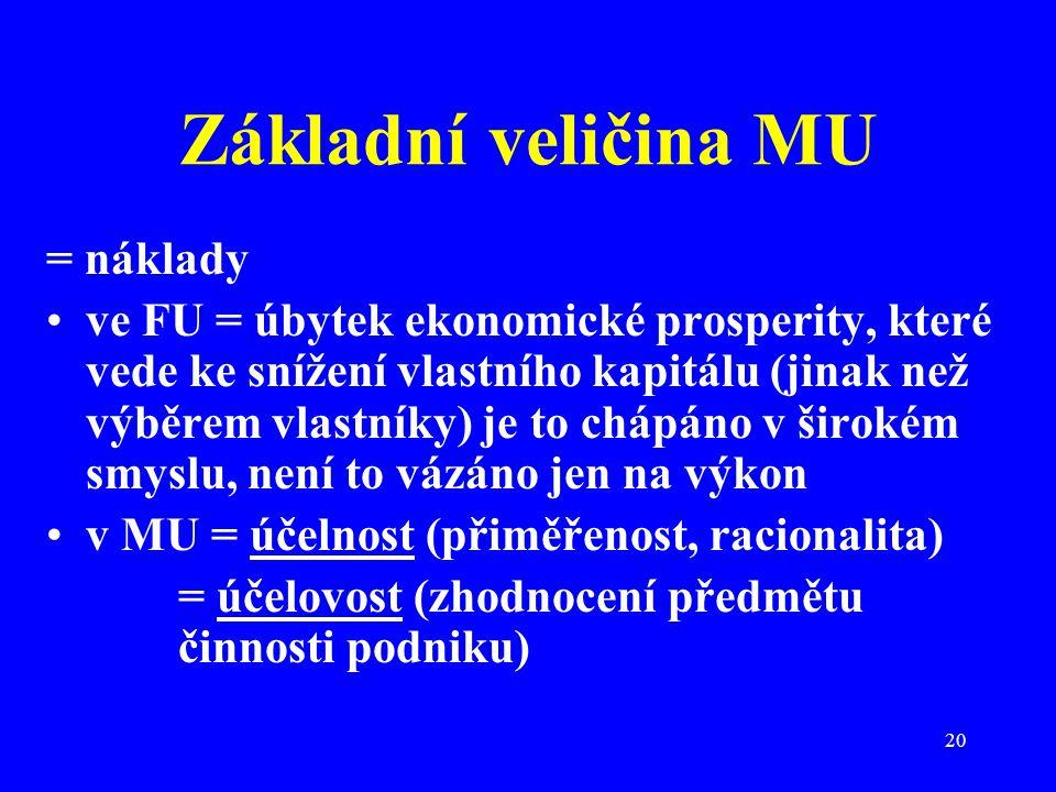 20 Základní veličina MU = náklady ve FU = úbytek ekonomické prosperity, které vede ke snížení vlastního kapitálu (jinak než výběrem vlastníky) je to c