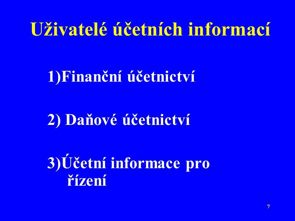7 Uživatelé účetních informací 1)Finanční účetnictví 2) Daňové účetnictví 3)Účetní informace pro řízení