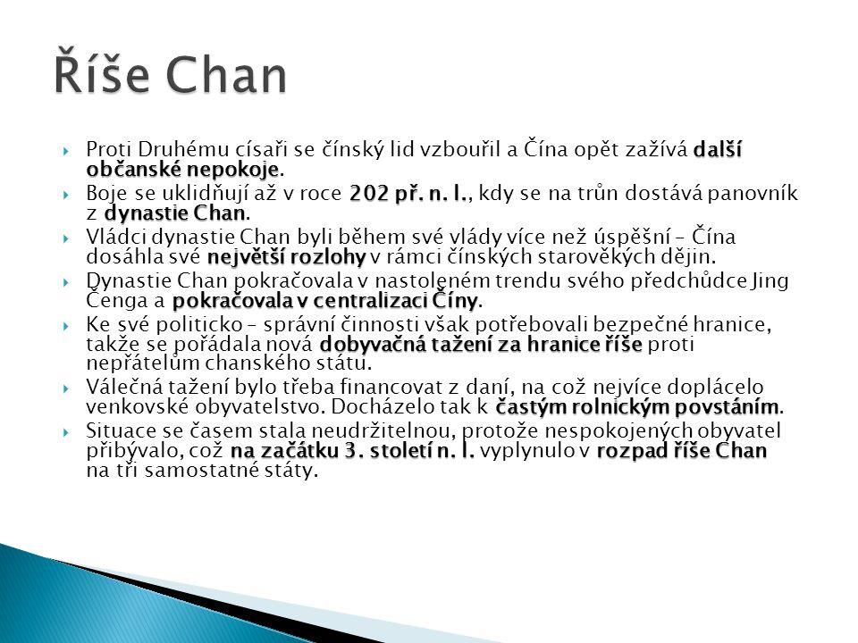 7) Rozsah říše Chan v prvním století př.n. l.
