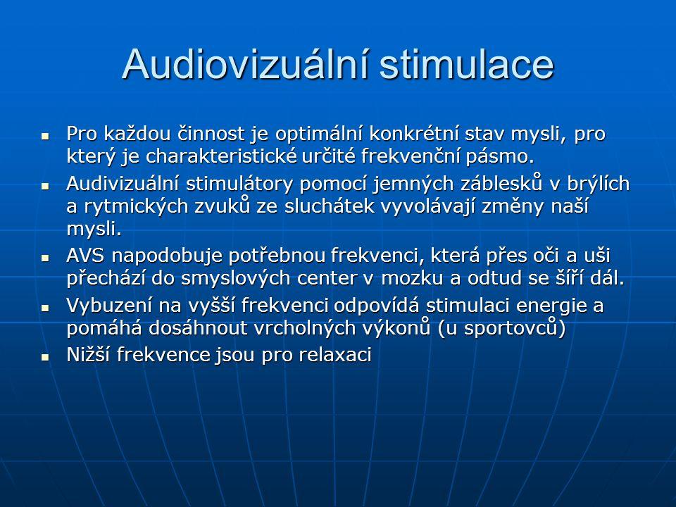 Audiovizuální stimulace Pro každou činnost je optimální konkrétní stav mysli, pro který je charakteristické určité frekvenční pásmo. Pro každou činnos