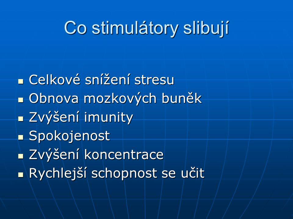 Co stimulátory slibují Celkové snížení stresu Celkové snížení stresu Obnova mozkových buněk Obnova mozkových buněk Zvýšení imunity Zvýšení imunity Spo