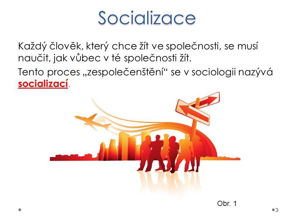 Vysvětlení pojmu socializace Socializace: je proces začleňování člověka do společnosti učí jedince jak ve společnosti existovat učí jedince jak správně hrát společenské role umožňuje člověku postupně utvářet vztahy, rozvíjet vlastní vidění světa a fungovat v něm je celoživotním procesem 4 Obr.