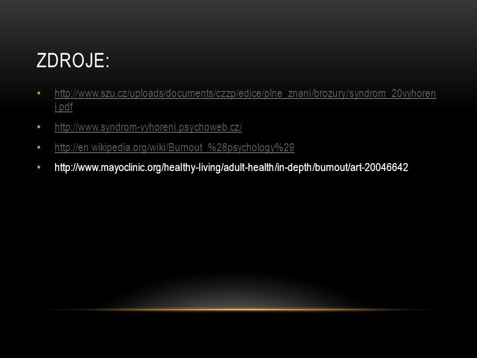 ZDROJE: http://www.szu.cz/uploads/documents/czzp/edice/plne_znani/brozury/syndrom_20vyhoren i.pdf http://www.szu.cz/uploads/documents/czzp/edice/plne_