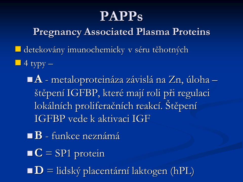 PAPPs Pregnancy Associated Plasma Proteins detekovány imunochemicky v séru těhotných detekovány imunochemicky v séru těhotných 4 typy – 4 typy – A - m