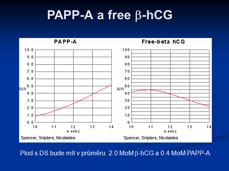 PAPP-A a free  -hCG Plod s DS bude mít v průměru 2.0 MoM  -hCG a 0.4 MoM PAPP-A