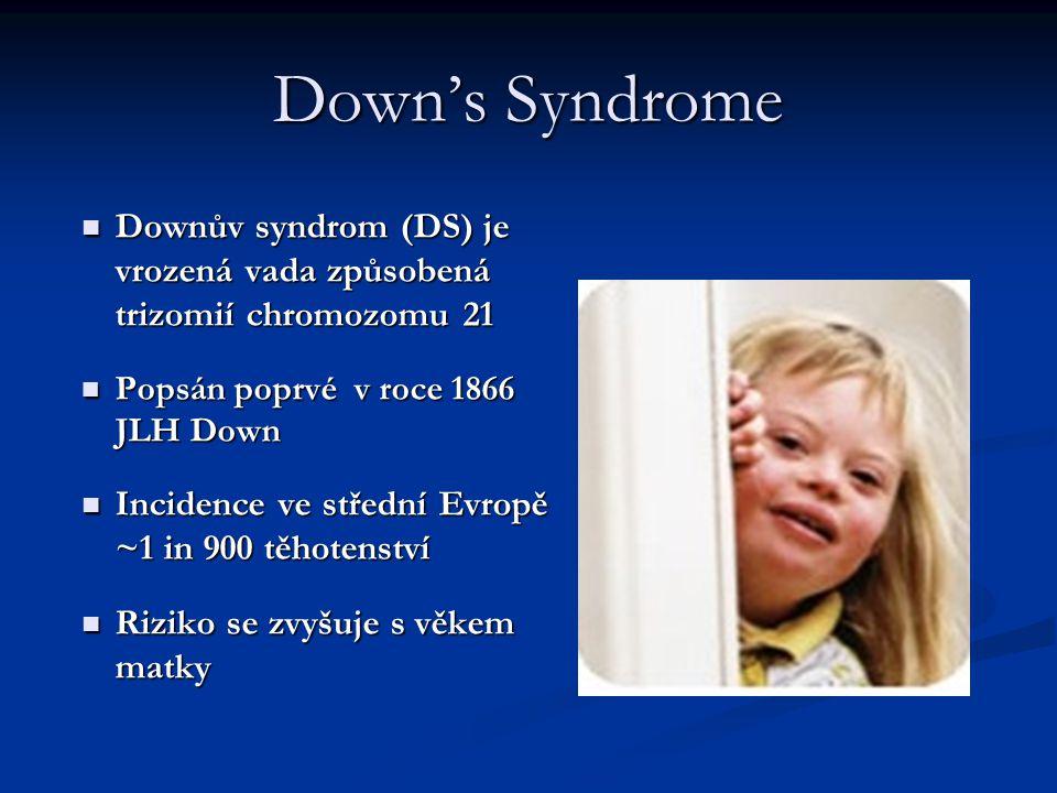 Downův syndrom (DS) je vrozená vada způsobená trizomií chromozomu 21 Downův syndrom (DS) je vrozená vada způsobená trizomií chromozomu 21 Popsán poprv