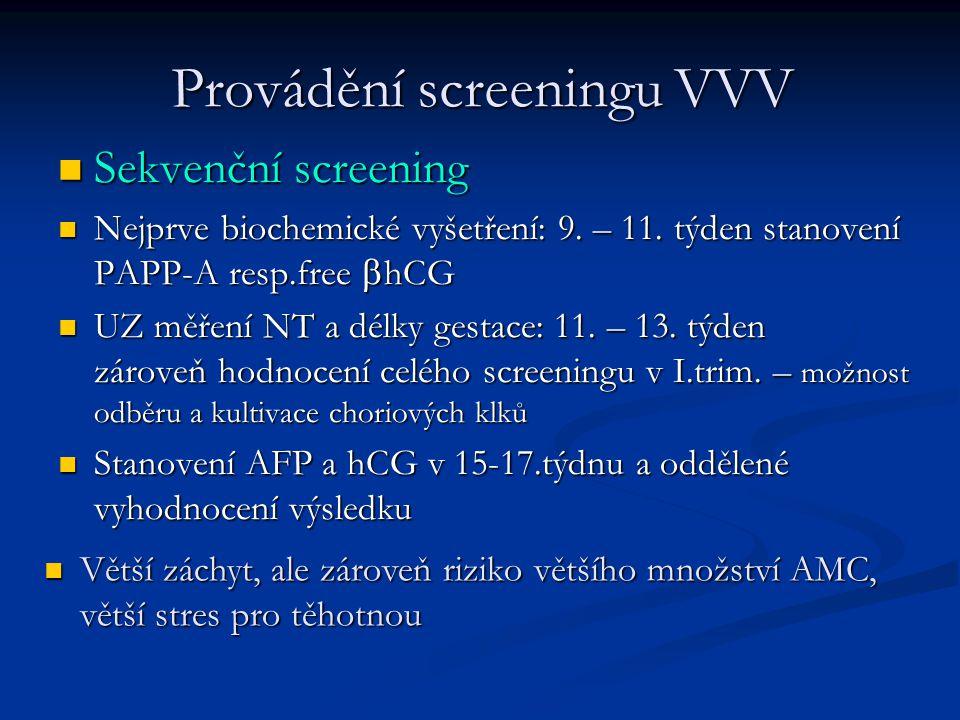 Provádění screeningu VVV Sekvenční screening Sekvenční screening Nejprve biochemické vyšetření: 9. – 11. týden stanovení PAPP-A resp.free  hCG Nejprv