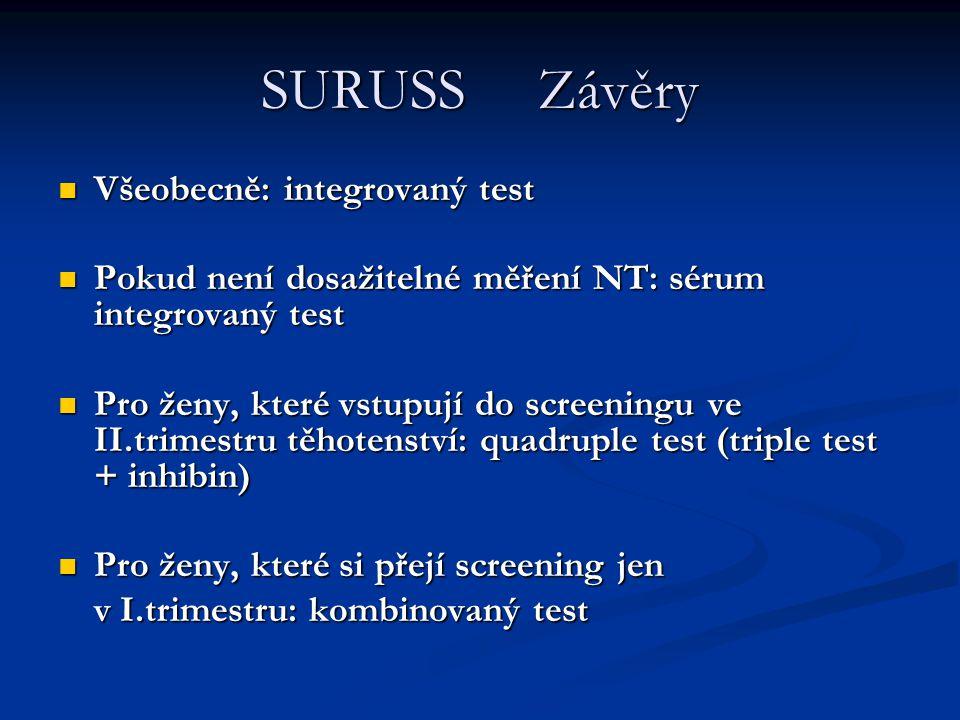 SURUSS Závěry Všeobecně: integrovaný test Všeobecně: integrovaný test Pokud není dosažitelné měření NT: sérum integrovaný test Pokud není dosažitelné
