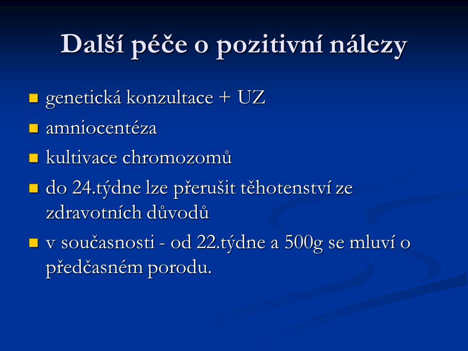Další péče o pozitivní nálezy genetická konzultace + UZ genetická konzultace + UZ amniocentéza amniocentéza kultivace chromozomů kultivace chromozomů