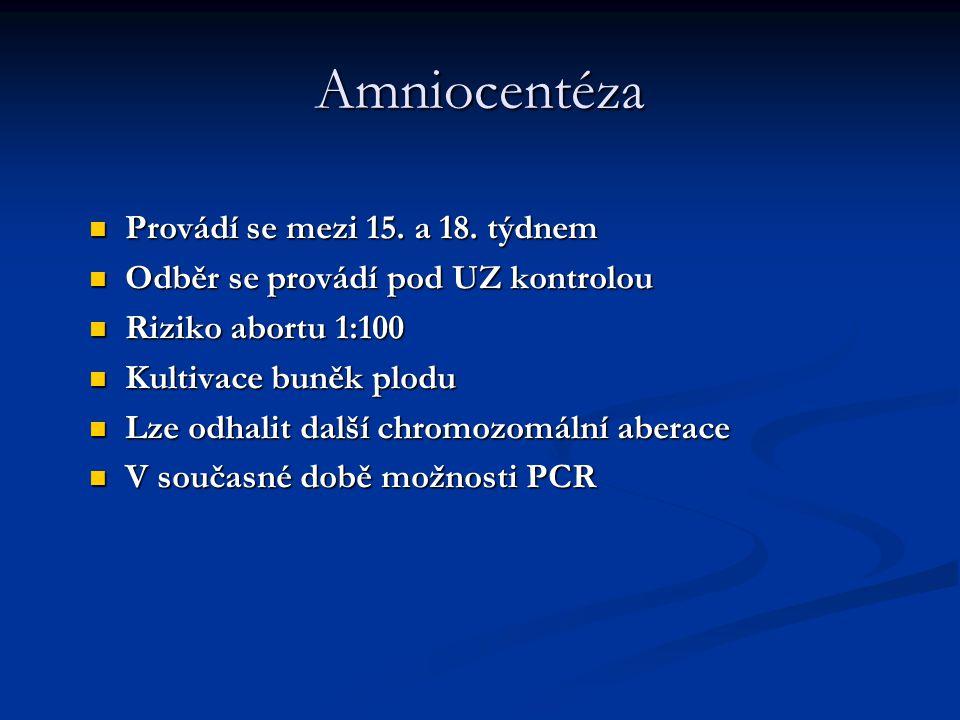 Amniocentéza Provádí se mezi 15. a 18. týdnem Provádí se mezi 15. a 18. týdnem Odběr se provádí pod UZ kontrolou Odběr se provádí pod UZ kontrolou Riz