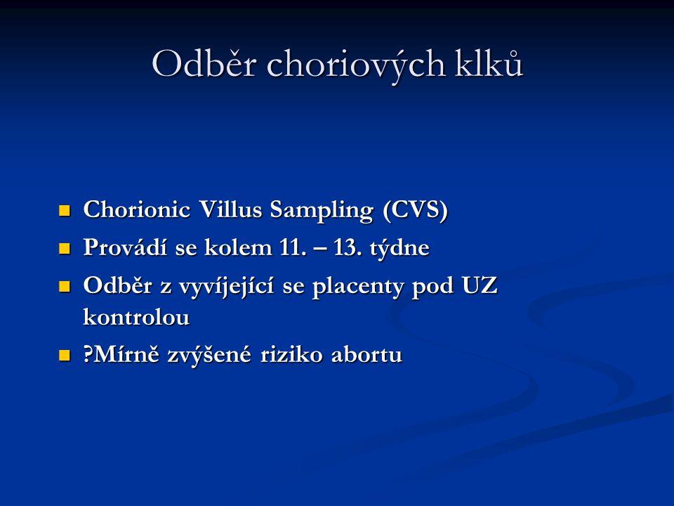 Odběr choriových klků Chorionic Villus Sampling (CVS) Chorionic Villus Sampling (CVS) Provádí se kolem 11. – 13. týdne Provádí se kolem 11. – 13. týdn