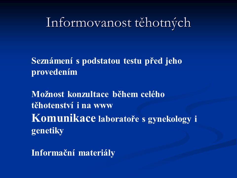 Informovanost těhotných Seznámení s podstatou testu před jeho provedením Možnost konzultace během celého těhotenství i na www Komunikace laboratoře s
