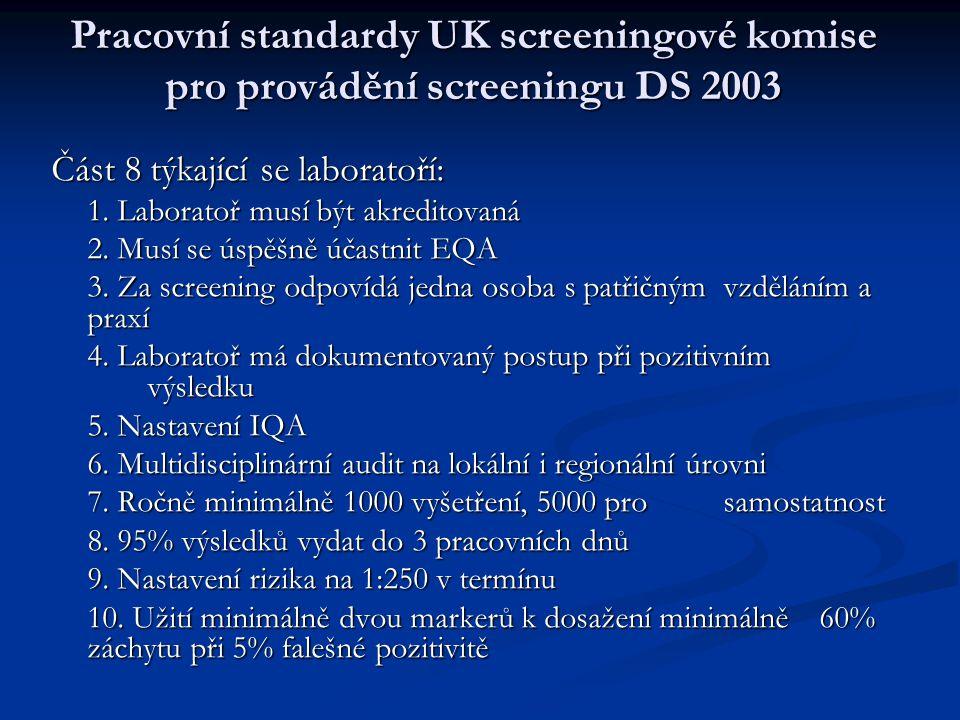 Pracovní standardy UK screeningové komise pro provádění screeningu DS 2003 Část 8 týkající se laboratoří: 1. Laboratoř musí být akreditovaná 2. Musí s