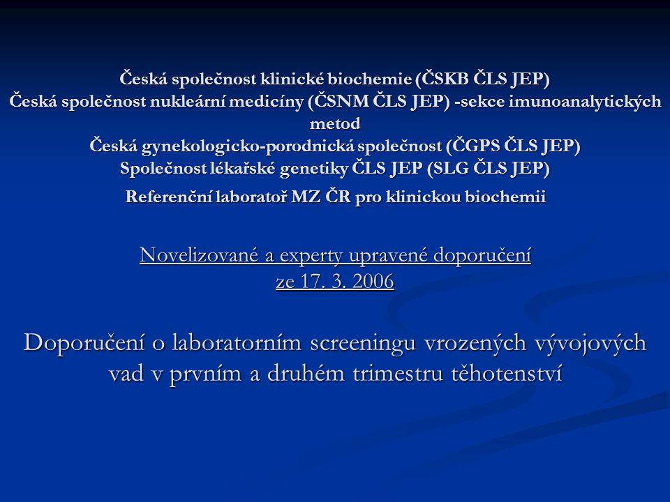 Česká společnost klinické biochemie (ČSKB ČLS JEP) Česká společnost nukleární medicíny (ČSNM ČLS JEP) -sekce imunoanalytických metod Česká gynekologic