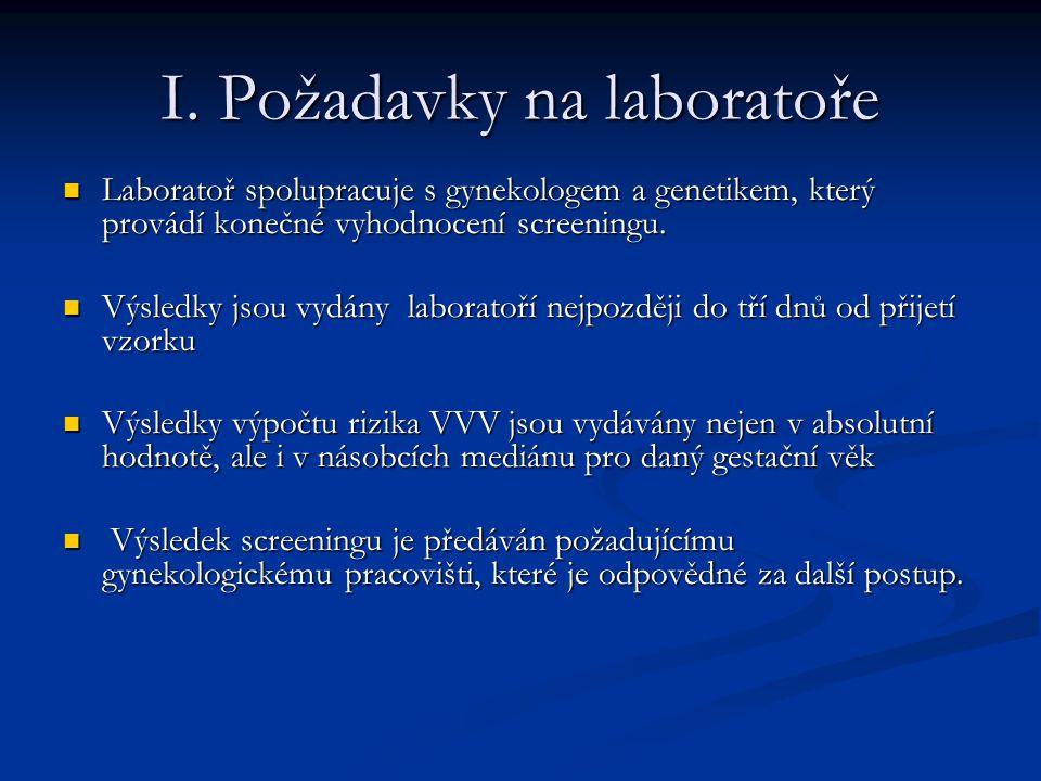 I. Požadavky na laboratoře Laboratoř spolupracuje s gynekologem a genetikem, který provádí konečné vyhodnocení screeningu. Laboratoř spolupracuje s gy