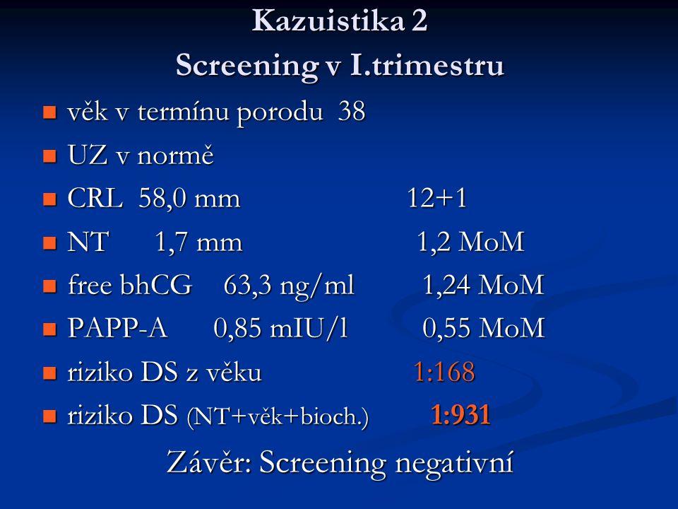 Kazuistika 2 Screening v I.trimestru věk v termínu porodu 38 věk v termínu porodu 38 UZ v normě UZ v normě CRL 58,0 mm 12+1 CRL 58,0 mm 12+1 NT 1,7 mm