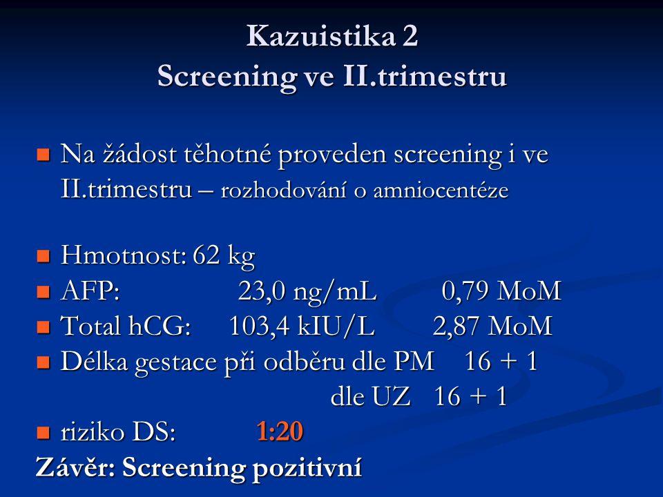 Kazuistika 2 Screening ve II.trimestru Na žádost těhotné proveden screening i ve II.trimestru – rozhodování o amniocentéze Na žádost těhotné proveden