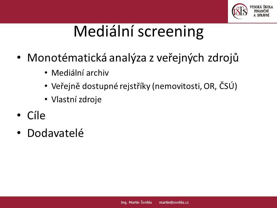 Mediální screening Monotématická analýza z veřejných zdrojů Mediální archiv Veřejně dostupné rejstříky (nemovitosti, OR, ČSÚ) Vlastní zdroje Cíle Doda