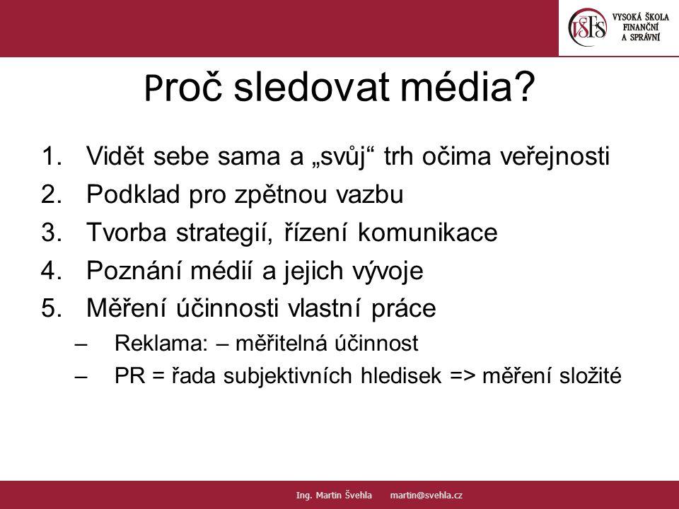 """P roč sledovat média? 1.Vidět sebe sama a """"svůj"""" trh očima veřejnosti 2.Podklad pro zpětnou vazbu 3.Tvorba strategií, řízení komunikace 4.Poznání médi"""